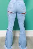 Baby Blue Street Solid Ripped Split Joint High Waist Boot Cut Denim Jeans