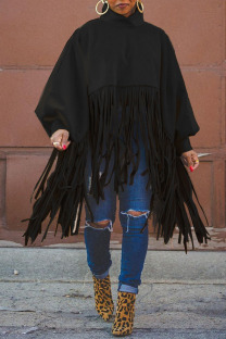 Black Fashion Vintage Solid Tassel Turtleneck Plus Size Overcoat