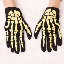 Yellow Halloween Fashion Casual Skeleton Printing Gloves