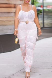 Pink Sexy Solid Tassel Split Joint Backless Spaghetti Strap Plus Size Jumpsuits