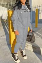Grey Fashion Sportswear Print Split Joint Hooded Collar Long Sleeve Two Pieces