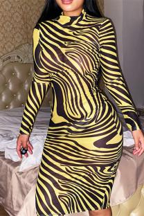 Yellow Fashion Sexy Print See-through Long Sleeve Dresses