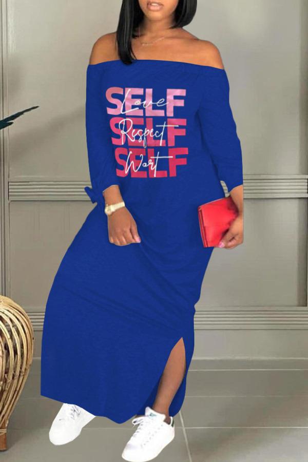 Deep Blue Casual Print Split Joint Off the Shoulder Straight Dresses