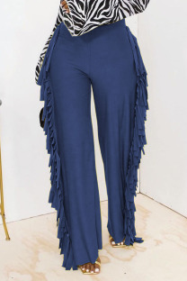 Blue Fashion Solid Tassel Straight High Waist Straight Solid Color Bottoms