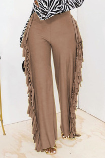 Champagne Fashion Solid Tassel Straight High Waist Straight Solid Color Bottoms