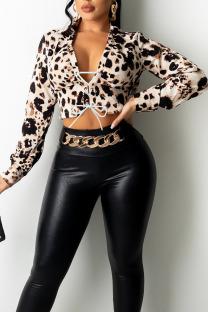 Leopard Print Fashion Sexy Print Split Joint Turndown Collar Tops