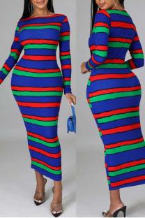 Blue Sexy Striped Print Split Joint O Neck One Step Skirt Dresses