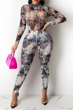 Grey Sexy Print Split Joint Half A Turtleneck Long Sleeve Two Pieces