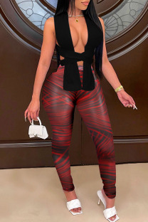 Black Fashion Sexy Print Split Joint V Neck Sleeveless Two Pieces