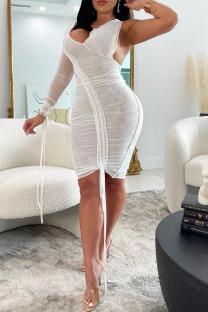 White Fashion Sexy Solid Split Joint V Neck One Step Skirt Dresses