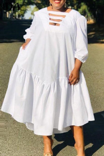 White Casual Solid Split Joint Asymmetrical Collar A Line Dresses