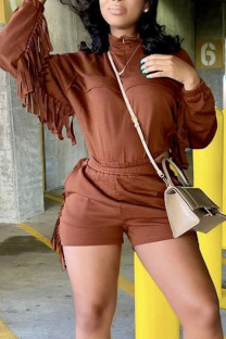 Coffee Casual Solid Tassel Split Joint Zipper Collar Long Sleeve Two Pieces