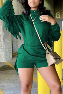 Ink Green Casual Solid Tassel Split Joint Zipper Collar Long Sleeve Two Pieces