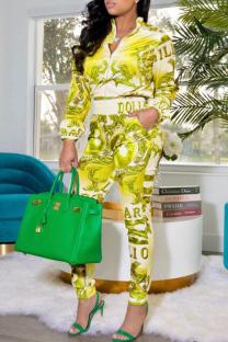 Yellow Fashion Casual Print Basic Zipper Collar Long Sleeve Two Pieces