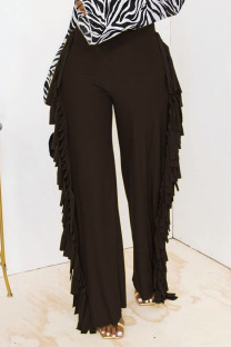 Black Fashion Solid Tassel Straight High Waist Straight Solid Color Bottoms