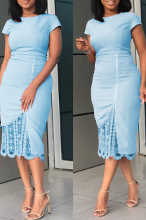 Light Blue Sexy Solid Lace O Neck Irregular Dress Dresses