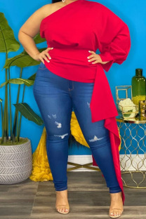 Red Sexy Solid Split Joint Asymmetrical Oblique Collar Plus Size Tops