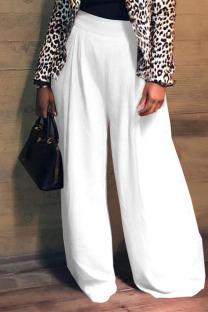 White Elegant Solid Split Joint Fold Straight High Waist Wide Leg Solid Color Bottoms
