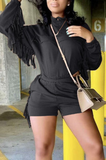 Black Casual Solid Tassel Split Joint Zipper Collar Long Sleeve Two Pieces