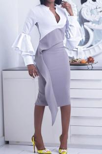 White Elegant Solid Split Joint Asymmetrical V Neck One Step Skirt Dresses