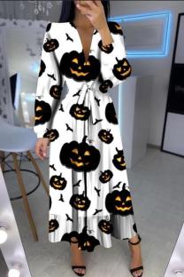 Black And White Casual Print Split Joint V Neck Cake Skirt Dresses