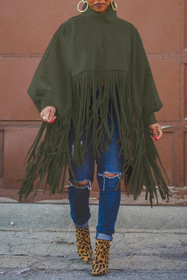Army Green Fashion Vintage Solid Tassel Turtleneck Plus Size Overcoat