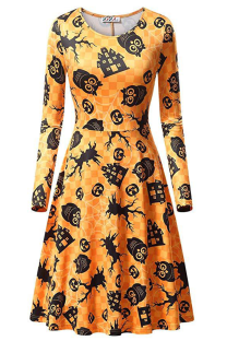 Yellow Halloween Casual Party Split Joint Print Costumes