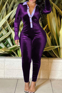 Purple Fashion Casual Solid Split Joint Turndown Collar Regular Jumpsuits