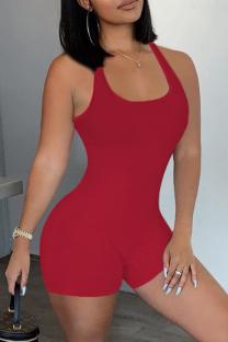 Red Casual Sportswear Solid Backless U Neck Skinny Romper