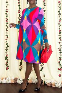 Multicolor Fashion Casual Print Basic O Neck Long Sleeve Dresses