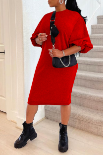 Red Casual Solid Split Joint O Neck Straight Dresses