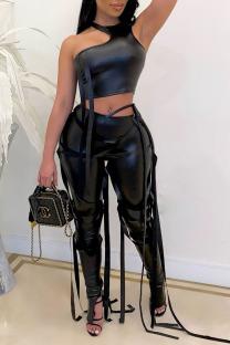 Black Fashion Sexy Solid Bandage O Neck Sleeveless Two Pieces