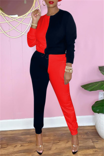 Black Red Fashion Casual Patchwork Basic O Neck Long Sleeve Two Pieces