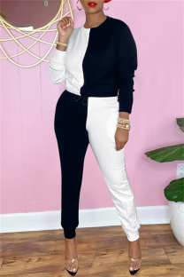 Black White Fashion Casual Patchwork Basic O Neck Long Sleeve Two Pieces