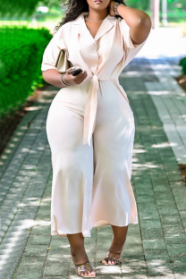 Light Pink Fashion Casual Solid Bandage Turndown Collar Plus Size Jumpsuits