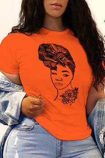 Orange Casual Street Print Split Joint O Neck T-Shirts