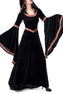 Black Valentines Day Party Vintage Split Joint Flounce Print Costumes