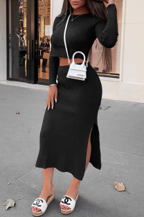 Black Fashion Street Solid Slit O Neck Long Sleeve Two Pieces