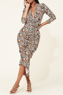 Apricot Fashion Sexy Print Split Joint V Neck One Step Skirt Dresses
