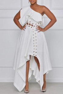 White Sexy Casual Plus Size Solid Backless Oblique Collar Irregular Dress
