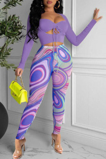 Purple Fashion Sexy Print Split Joint Square Collar Long Sleeve Two Pieces