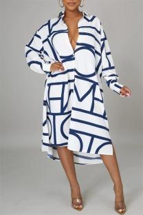White Fashion Casual Print Basic Turndown Collar Long Sleeve Shirt Dress