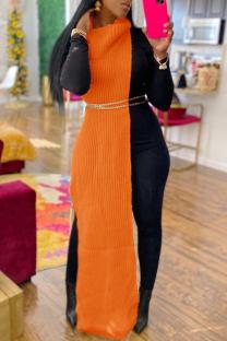 Orange Fashion Casual Solid Slit Turtleneck Sleeveless Dress (Without Waist Chain)