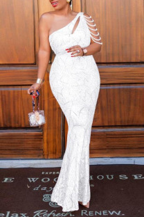 White Sexy Elegant Solid Hollowed Out Split Joint Pearl  Sequins Oblique Collar One Step Skirt Plus Size Dresses