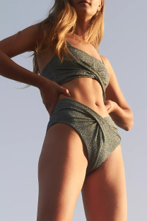Ink Green Sexy Daily Solid Split Joint Swimwears