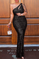 Black Sexy Elegant Solid Hollowed Out Split Joint Pearl  Sequins Oblique Collar One Step Skirt Plus Size Dresses