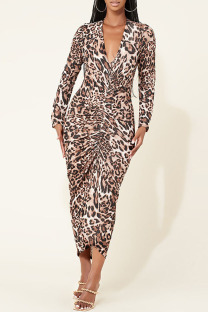 Brown Fashion Sexy Print Split Joint V Neck One Step Skirt Dresses