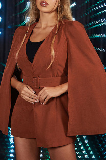 Red-brown Fashion British Style Solid Split Joint V Neck Outerwear