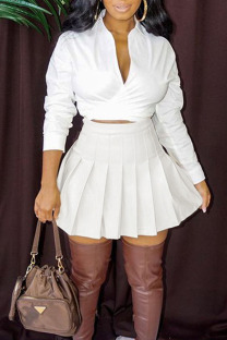 White Casual Solid Bandage Split Joint Fold V Neck Long Sleeve Two Pieces