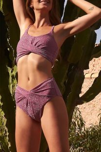 Rose Red Sexy Daily Solid Split Joint Swimwears